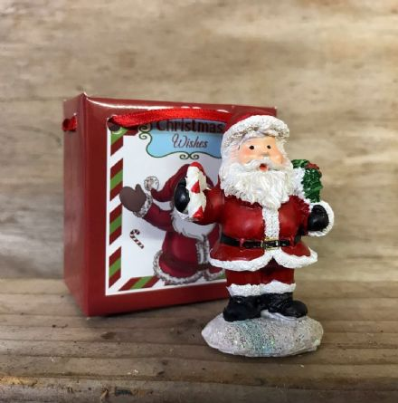 Christmas Wishes ~ Mini Santa Ornament in Gift Bag - with Candy Cane